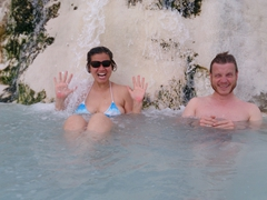 After climbing to the top of Pamukkale, we couldn't resist and had to hop into one of the pools to enjoy the warm water!