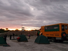 Our first bush camp in a random quarry. We met the super friendly owner and played with his dog (she ended up sleeping outside our tent for the entire night!)