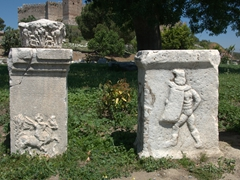 A gladiator carving; Basilica of St John in Selcuk