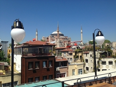 View of the Hagia Sophia from the rooftop of Orient Hostel