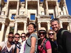Denise, Lars, Kate, Gill, Becky, Helen, Scuba Gill & Robby in front of the Celsus Library; Ephesus