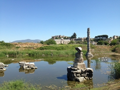 A solitary column is all that remains of the Temple of Artemis, one of the 7 Ancient Wonders of the World