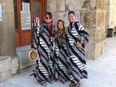 Helen, Ichi and Becky dressed to visit İsabey Mosque; Selcuk