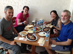 Robby, Helen, Ichi & Kevin enjoying our lunch of Selcuk köfte (meatballs), a local specialty