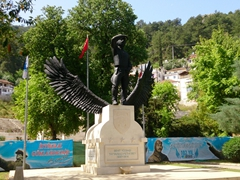 Statue of a hometown hero in Fethiye