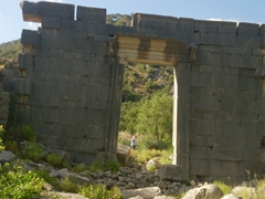 Huge entrance gate at Olympos ruins