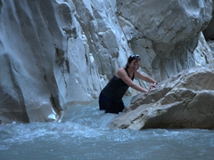 Kate making her way upstream; Saklikent Gorge
