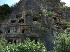 Close up view of Fethiye's Lycian rock tombs
