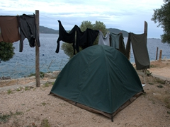 Our tent and clothes line at Club Kas Kamping