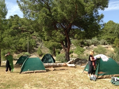 Helen and Gill setting up their tents; Saklikent Gorge Club