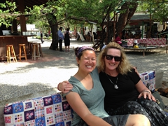 Becky and Gill enjoying the free welcome drinks at Saklikent Gorge Club