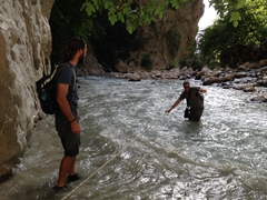 Kyle watches Robby crossing a turbulent section of the Saklikent Gorge