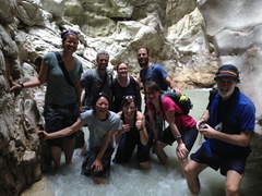 Group pose in Saklikent Gorge (Ichi, Kate, Helen, Kevin, Becky, Robby, Gill, Kyle)