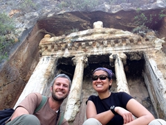 Posing in front of the Tomb of Amyntas, an ancient tomb built into the hillside at Fethiye