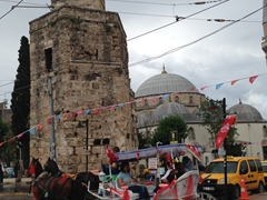 Horse carriage in front of the Clock Tower; Antalya