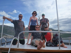 Lars, Ichi, Robby, Helen and Anthony on our boat trip out to the sunken city of Kekova