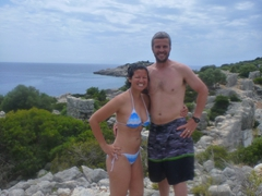 Posing atop Lycian ruins on our Kekova boat trip