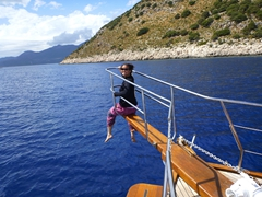 Becky enjoying the boat trip back from Kekova to Kas