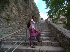 Becky walking up the 40 steps linking Antalya harbor to the old town