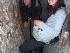 Robby and Ichi in a stairwell of Derinkuyu underground city