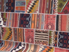 Mismatched kilims stitched together