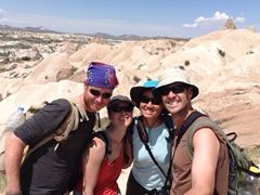 Lars, Ichi, Becky and Robby on our hike through Rose and Red Valleys; Cappadocia