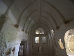 Interior of a cave church; Rose Valley in Cappadocia