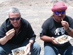 Chicken bone munchers - Robby and Mark chow down