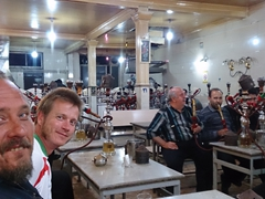 Mark, Lars and Robby enjoying the male only shisha joint in Tabriz
