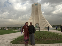 Posing in front of the Azadi Tower (aka Freedom Tower); Tehran