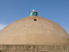 Well preserved Sardar Cistern, the biggest single-domed cistern where water is stored underground and cooled by wind towers; Qazvin