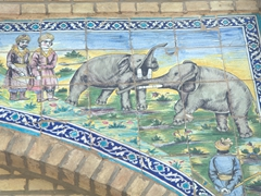 Elephants fighting tile detail; Golestan Palace