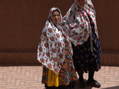 Two elderly women wear traditional attire; Abyaneh