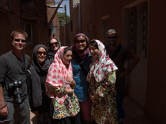 Posing with friendly Iranian girls; Abyaneh