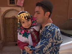A cute girl and her father; Abyaneh