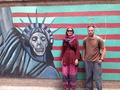 "In front of the ""US Den of Espionage"" (formerly known as the US Embassy, the site of the 1979 hostage crisis); Tehran"