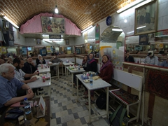 Enjoying our meal at the underground restaurant in Tabriz