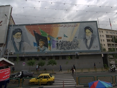 A common billboard scene in Tehran