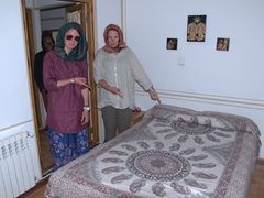 "Denise, Helen and Gill look on enviously of our ""private"" room at the Sunrise Hotel; Esfahan"