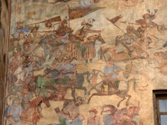 Battle scene fresco of Shah Abbas' war with the Uzbeks; Qeysarieh Portal