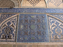 Tilework on the impressive Jameh Mosque, where over 800 years of Islamic design is on display