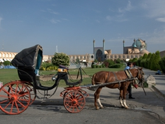 Horse carriage rides are a popular option at Imam Square