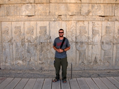 Robby posing between the Immortals royal guards; Persepolis