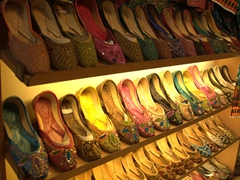 Rows of colorful shoes for sale; Shiraz's Vakil Bazaar