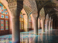 Visitors today won't be able to get this view of Nasir-ol-Molk Mosque because the exquisite tiled floor is covered with carpets and the stained glass windows now have curtains drawn