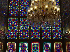 Beautiful stained glass windows; Shah-e-Cheragh Shrine