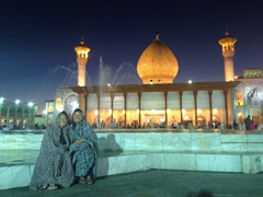 Ichi and Becky are positively radiant at the Shah-e-Cheragh Shrine; Shiraz