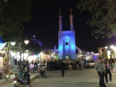 Night shot of Jāmeh Mosque; Yazd