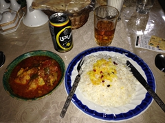 "Chicken curry and lemon ""beer""; Silk Road Hotel in Yazd"