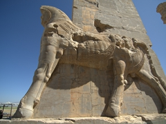 Side shot of a massive bull greeting visitors to the Gate of all Nations; Persepolis